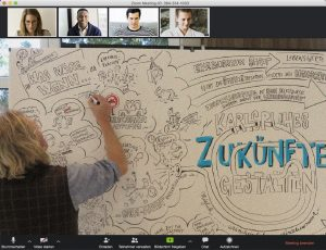 Mathias Suess zeichnet Live im Conference Call von Zoom - Karlsruhes Zukünfte gestalten.