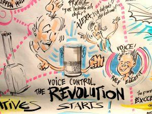 Sketchnotes; shs select; Voice Control; The Revolution starts;skaliert